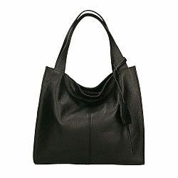Čierna kožená kabelka Chicca Borse Crispy