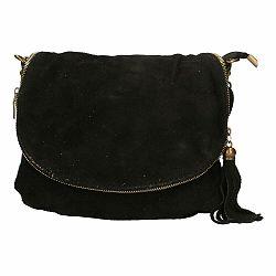Čierna kožená kabelka Chicca Borse Sullo