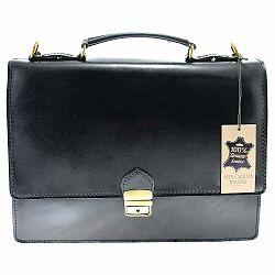 Čierna kožená taška Chicca Borse Messenger
