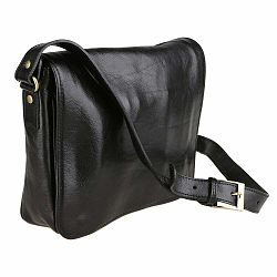 Čierna kožená taška Chicca Borse Nomra
