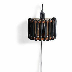 Čierna nástenná lampa s drevenou konštrukciou EMKO Macaron, dĺžka 20 cm