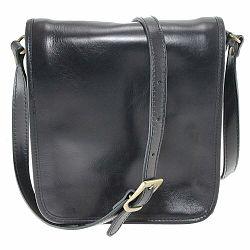 Čierna pánska kožená taška cez rameno Chicca Borse Roads