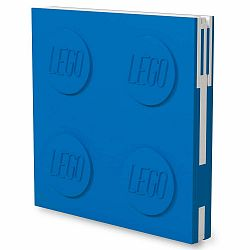 Modrý štvorcový zápisník s gélovým perom LEGO®, 15,9 x 15,9 cm