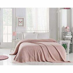 Púdrovoružová prikrývka cez posteľ Silvi, 220 x 240 cm