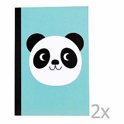 Sada 2 linajkových zošitov s potlačou pandy Rex London Miko The Panda