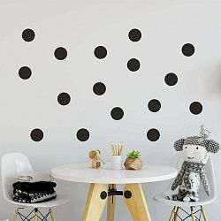 Sada čiernych samolepiek na stenu North Carolina Scandinavian Home Decors Dot