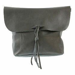 Sivá kožená kabelka Chicca Borse Hawn