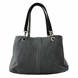 Sivá kožená kabelka Chicca Borse Ink