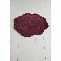 Tmavočervená kúpeľňová predložka Big Rose Kirmizi, ⌀ 90 cm