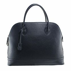 Tmavomodrá kožená kabelka Chicca Borse Griot