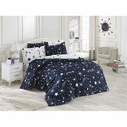 Tmavomodré obliečky s plachtou na jednolôžko Starry Night, 160 × 220 cm