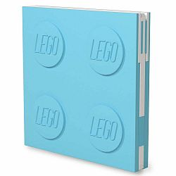 Tyrkysovomodrý štvorcový zápisník s gélovým perom LEGO®, 15,9 x 15,9 cm
