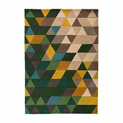 Vlnený koberec Flair Rugs Illusion Prism Green Triangles, 80×150cm
