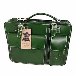 Zelená kožená taška Chicca Borse Gaia