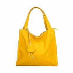 Žltá kožená kabelka Chicca Borse Crispy