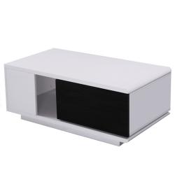 Konferenčný stolík, biela/čierna HG, DEMBA