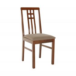 Stolička, tmavý dub/látka sivobéžová, SILAS